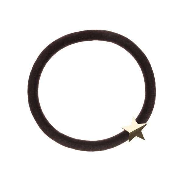 VELVET HAIR TIE CHOCOLATE BROWN W/GOLD STAR