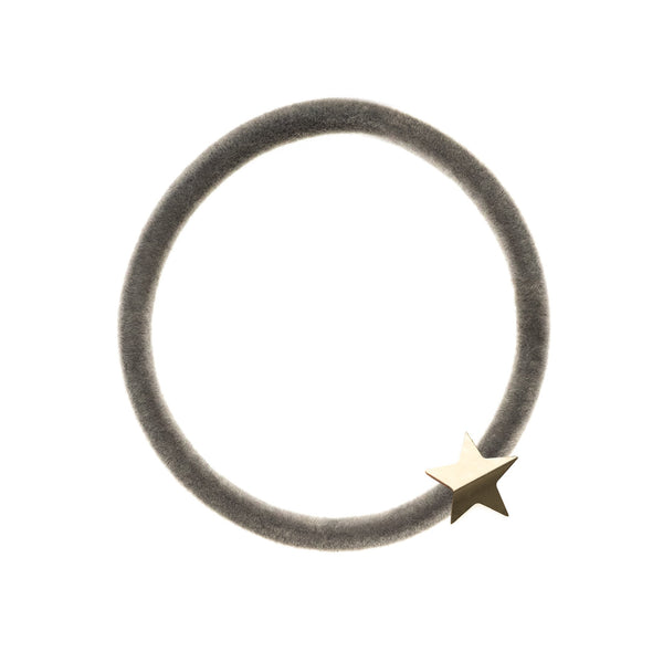 VELVET HAIR TIE GREY W/GOLD STAR