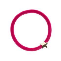 VELVET HAIR TIE PINK W/GOLD STAR