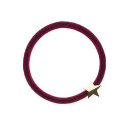 VELVET HAIR TIE WILDBERRY W/GOLD STAR