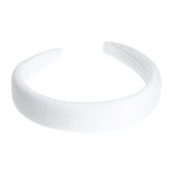 VELVET HAIR BAND BROAD WHITE