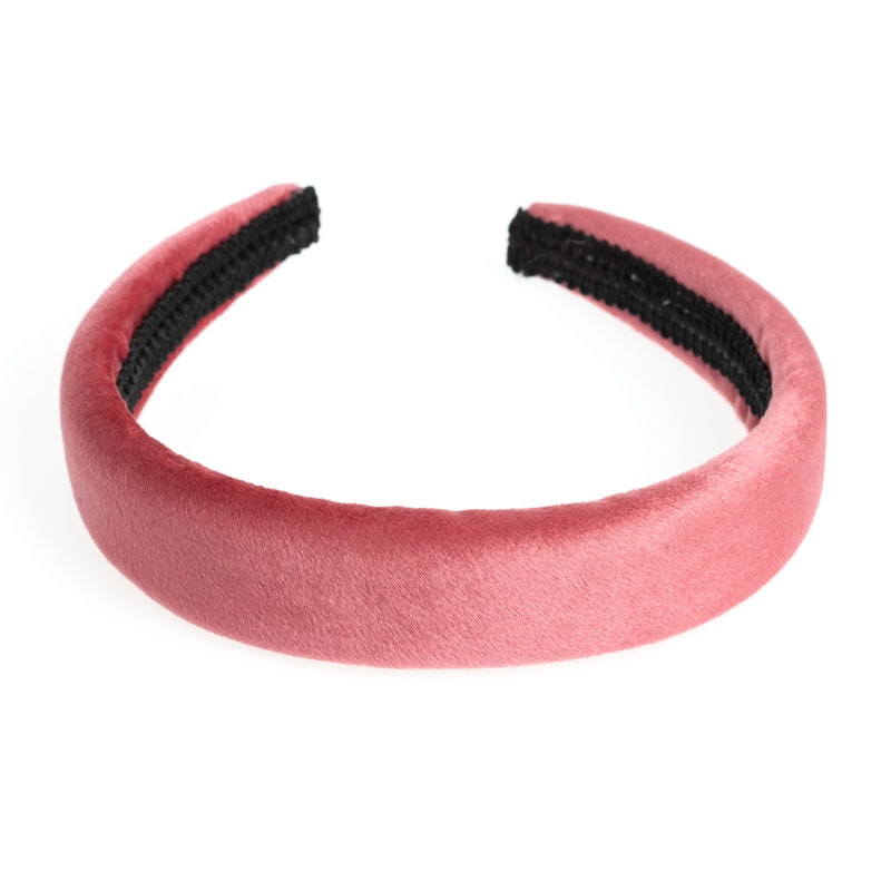 VELVET HAIR BAND BROAD CANDY PINK