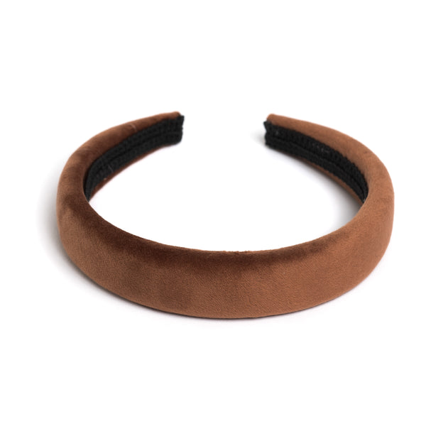 VELVET HAIR BAND BROAD COGNAC