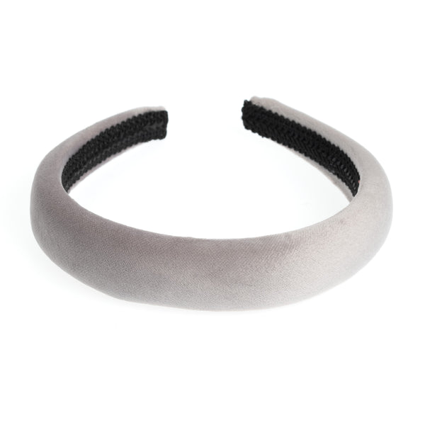 VELVET HAIR BAND BROAD ELEPHANT GREY