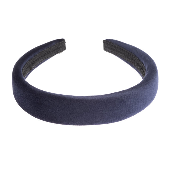 VELVET HAIR BAND BROAD NAVY BLUE