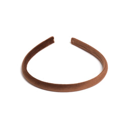 VELVET HAIR BAND THIN COGNAC