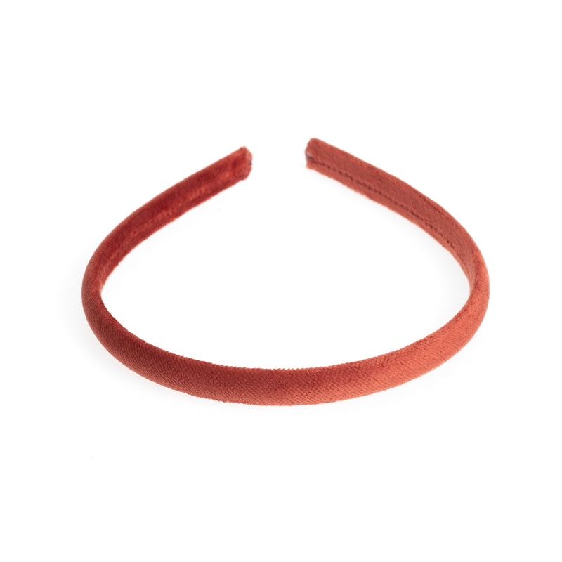 VELVET HAIR BAND THIN DARK TERRACOTTA