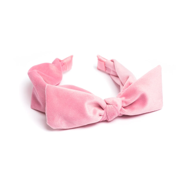 VELVET HAIR BAND W/BOW PALE PINK