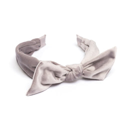 VELVET HAIR BAND W/BOW ELEPHANT GREY