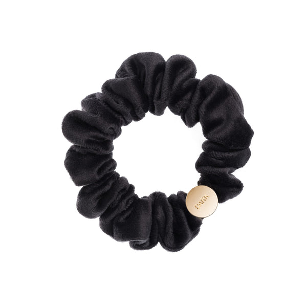 VELVET MINI SCRUNCHIE CHARCOAL