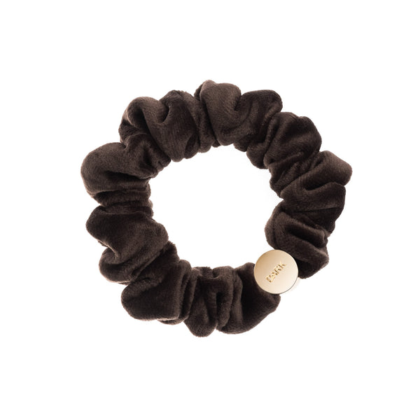VELVET MINI SCRUNCHIE CHOCOLATE BROWN