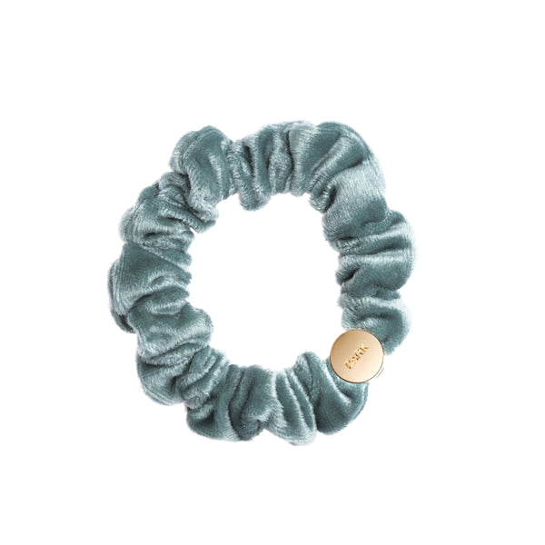 VELVET MINI SCRUNCHIE SPARKLED TEAL
