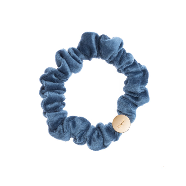 VELVET MINI SCRUNCHIE STONE BLUE