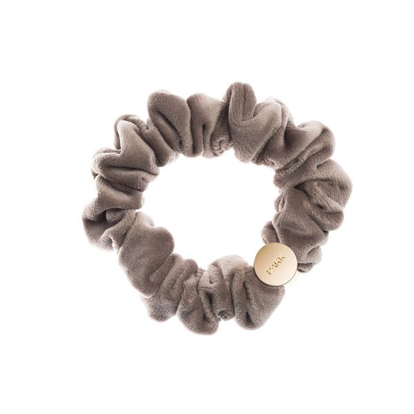 VELVET MINI SCRUNCHIE TAUPE