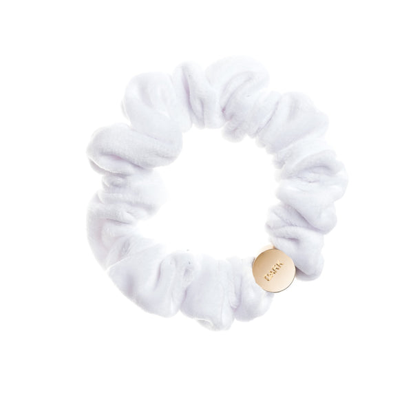 VELVET MINI SCRUNCHIE WHITE