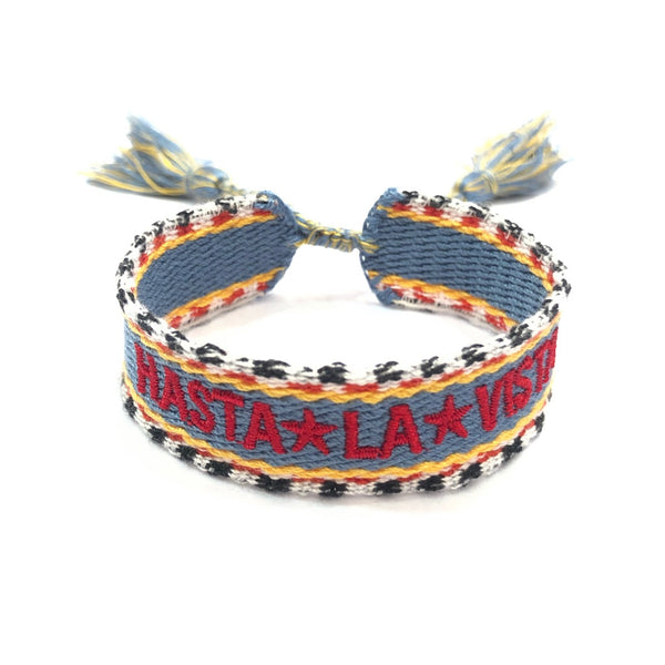 "WOVEN FRIENDSHIP BRACELET - ""HASTA LA VISTA"" DENIM MIX"