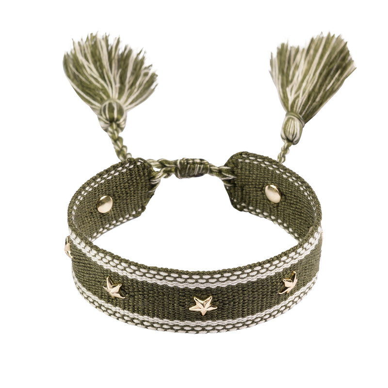 WOVEN FRIENDSHIP BRACELET W/STAR STUD ARMY
