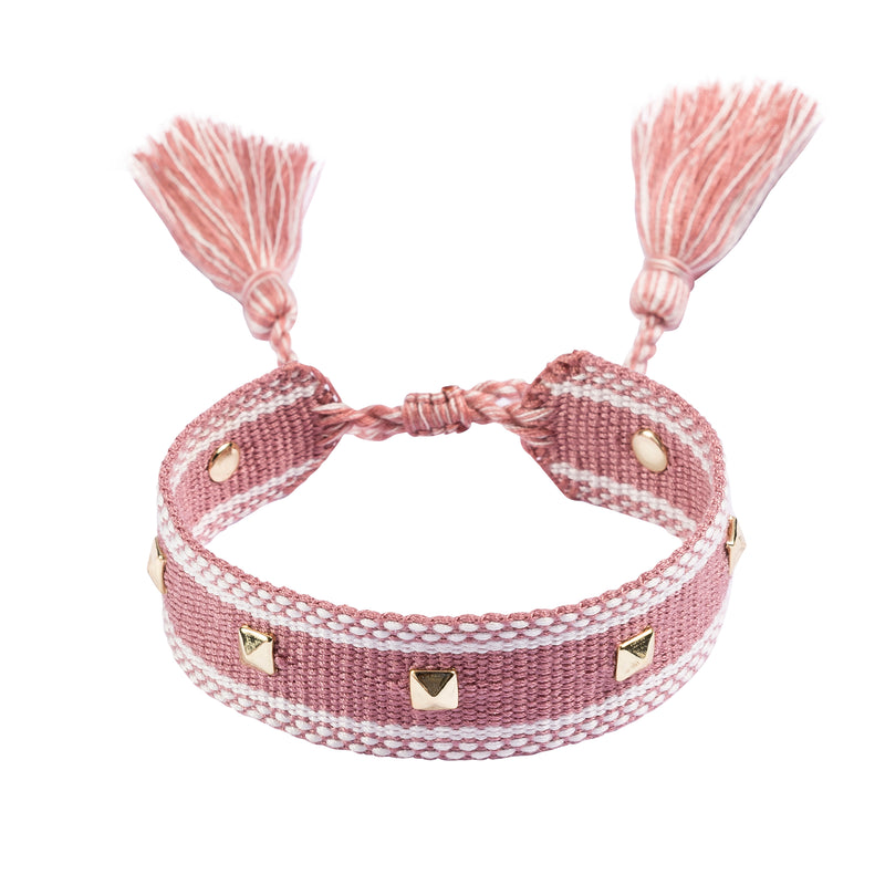 WOVEN FRIENDSHIP BRACELET W/STUD DUSTY ROSE