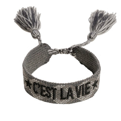 "WOVEN FRIENDSHIP BRACELET - ""C'EST LA VIE"" CHARCOAL"
