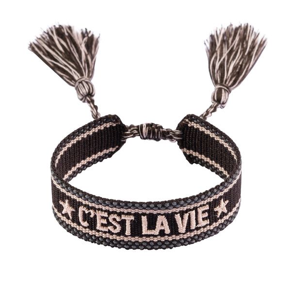 "WOVEN FRIENDSHIP BRACELET - ""C'EST LA VIE"" CHOCOLATE BROWN"