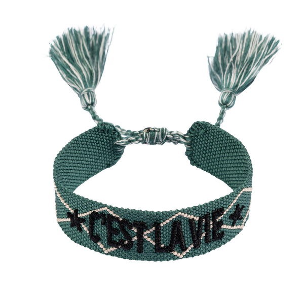 "WOVEN FRIENDSHIP BRACELET - ""C'EST LA VIE"" MALLARD GREEN W/BLACK"