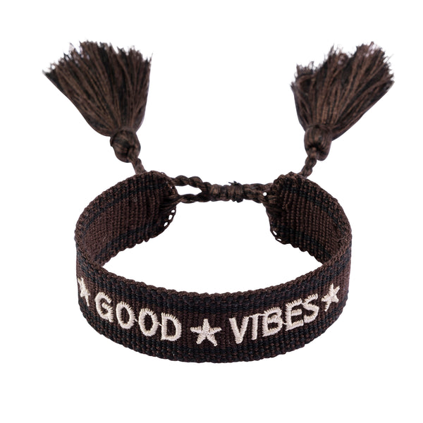 "WOVEN FRIENDSHIP BRACELET  ""GOOD VIBES"" CHOCOLATE BROWN"