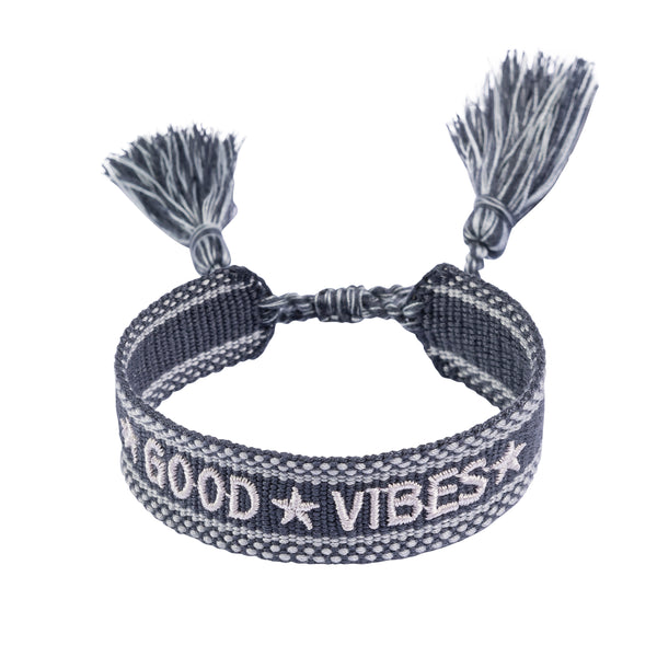 "WOVEN FRIENDSHIP BRACELET  ""GOOD VIBES"" STEEL BLUE"