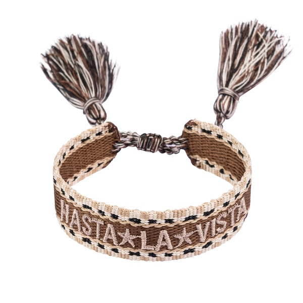 "WOVEN FRIENDSHIP BRACELET - ""HASTA LA VISTA"" COGNAC"