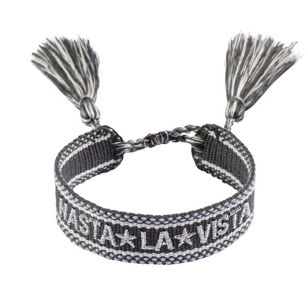 "WOVEN FRIENDSHIP BRACELET - ""HASTA LA VISTA"" DARK GREY W/SILVER"