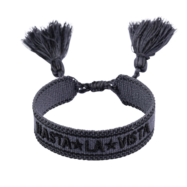 "WOVEN FRIENDSHIP BRACELET - ""HASTA LA VISTA"" DARK GREY"