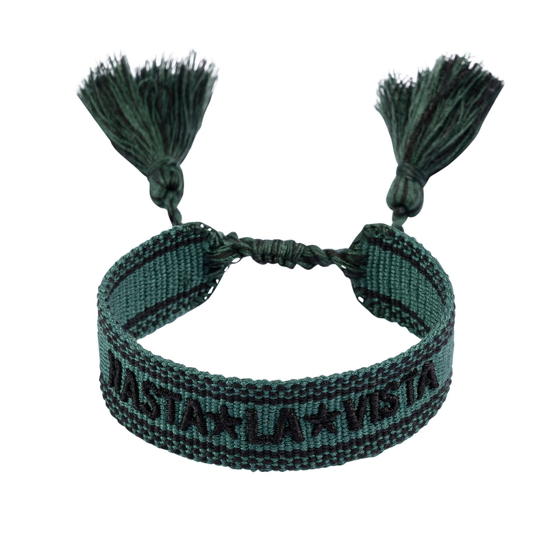 "WOVEN FRIENDSHIP BRACELET - ""HASTA LA VISTA"" PINE"