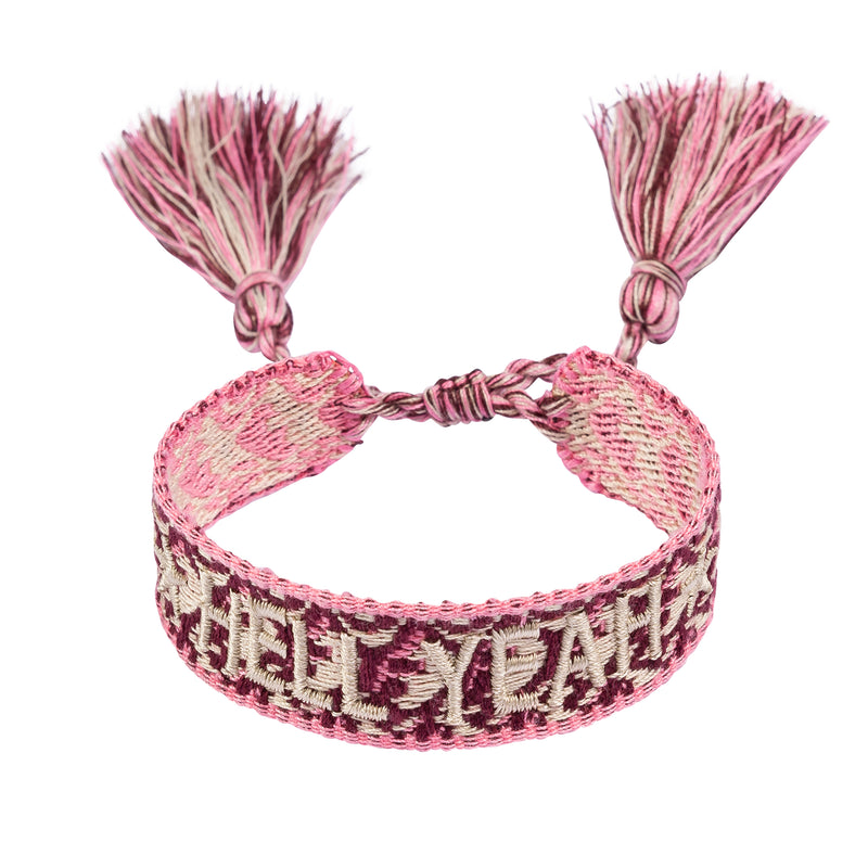 "WOVEN FRIENDSHIP BRACELET - ""HELL YEAH"" ROSE"