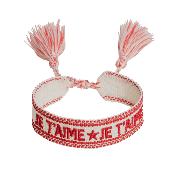 "WOVEN FRIENDSHIP BRACELET - ""JE T'AIME"" RED"