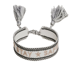 "WOVEN FRIENDSHIP BRACELET - ""STAY SAFE"" WHITE"