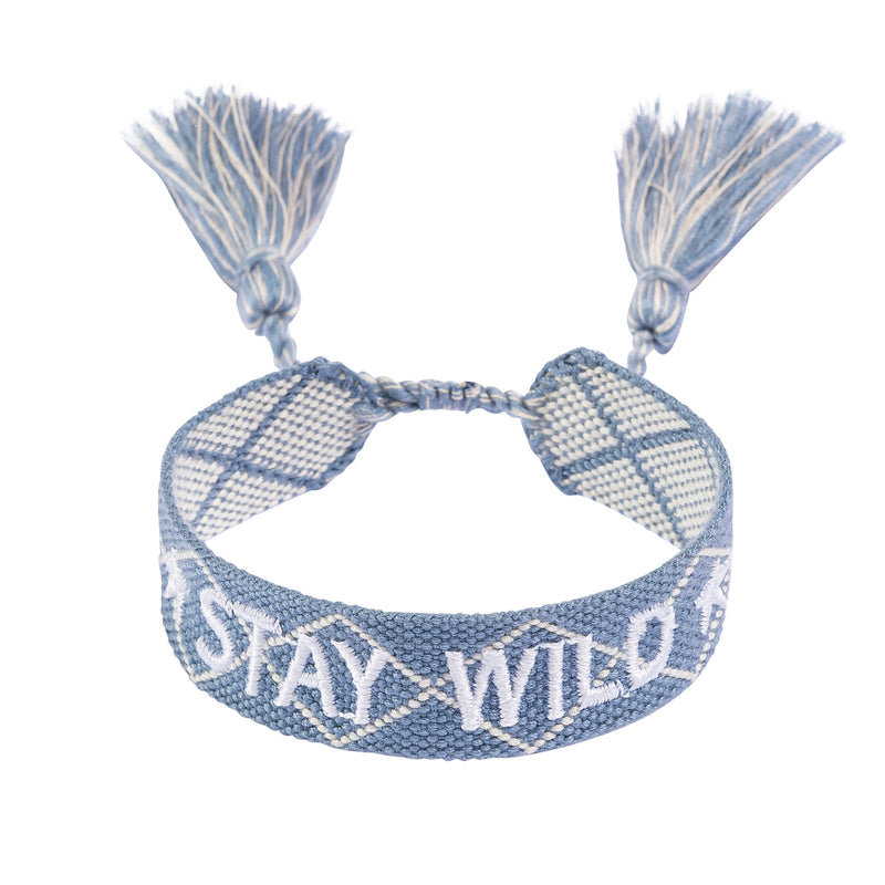 "WOVEN FRIENDSHIP BRACELET  ""STAY WILD"" 501 BLUE"