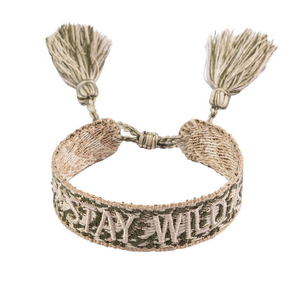 "WOVEN FRIENDSHIP BRACELET  ""STAY WILD"" FADED ARMY"