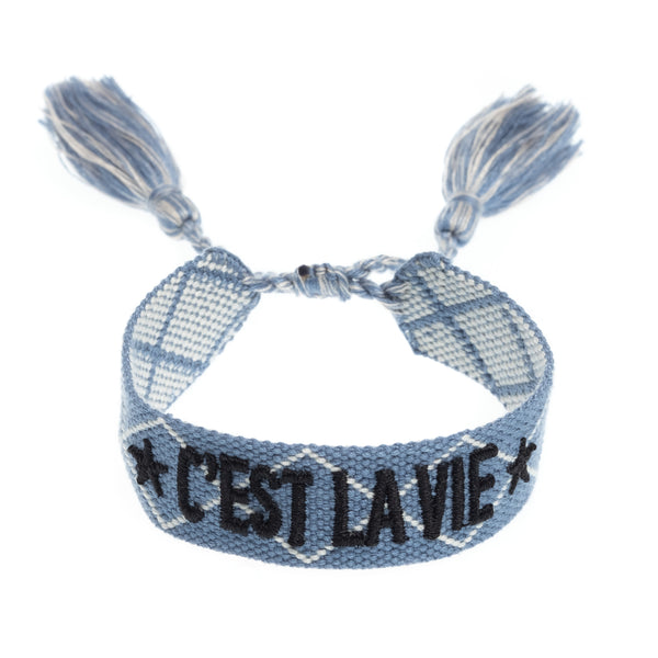 "WOVEN FRIENDSHIP BRACELET - ""C'EST LA VIE"" 501 BLUE"