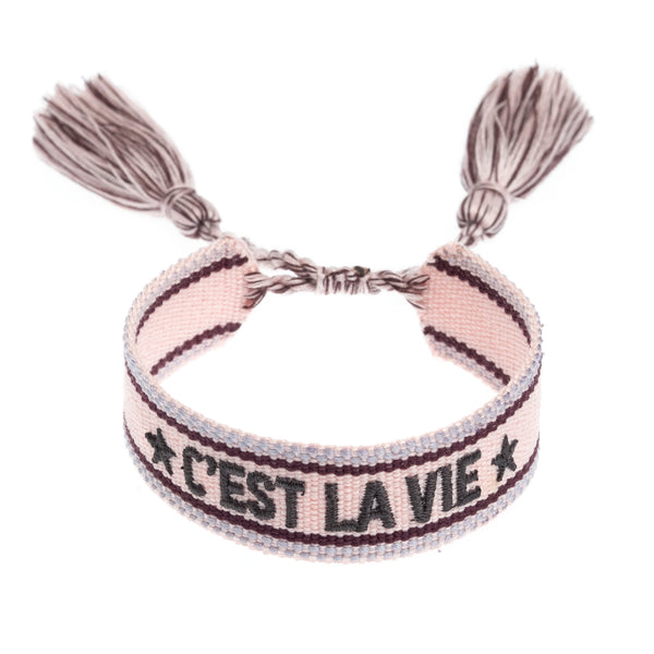 "WOVEN FRIENDSHIP BRACELET - ""C'EST LA VIE"" BLUSH ROSE"