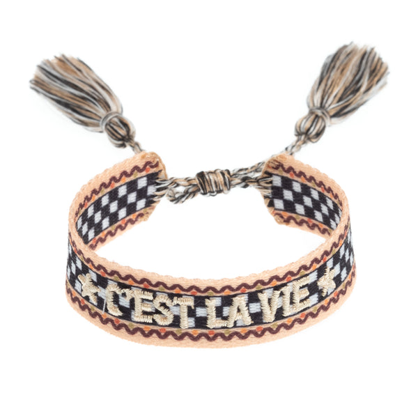 "WOVEN FRIENDSHIP BRACELET - ""C'EST LA VIE"" CHECKERED"