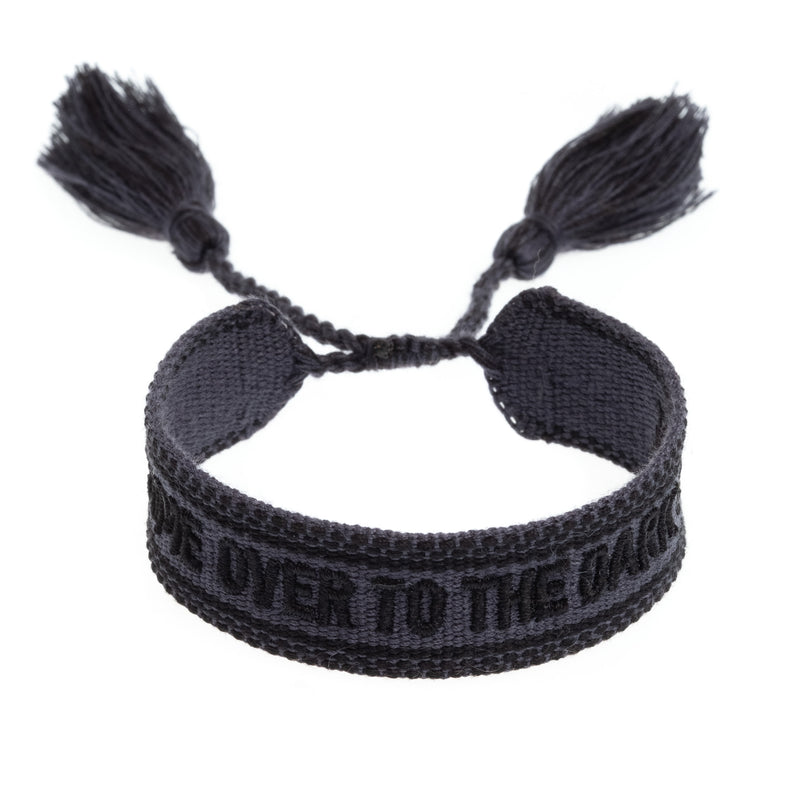 "WOVEN FRIENDSHIP BRACELET - ""COME OVER TO THE DARK SIDE"" CHARCOAL"