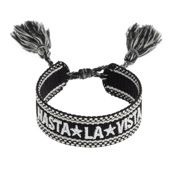 "WOVEN FRIENDSHIP BRACELET - ""HASTA LA VISTA"" BLACK"