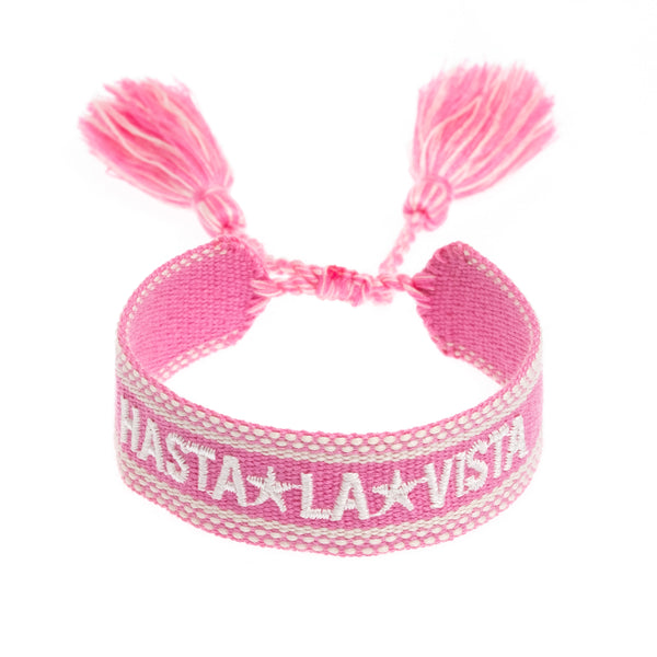 "WOVEN FRIENDSHIP BRACELET - ""HASTA LA VISTA"" PALE PINK"