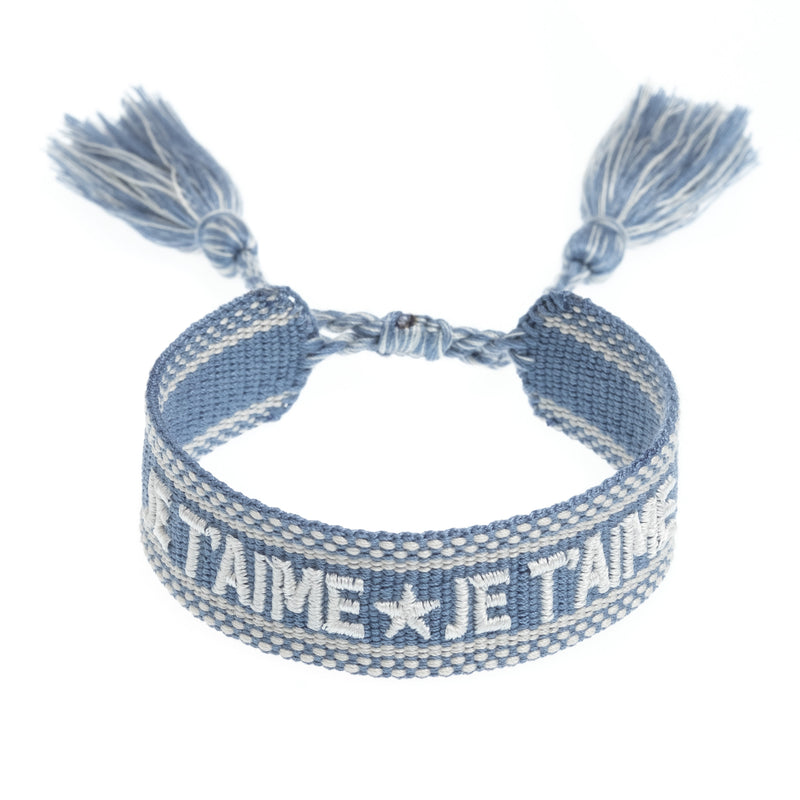 "WOVEN FRIENDSHIP BRACELET - ""JE T'AIME"" 501 BLUE"