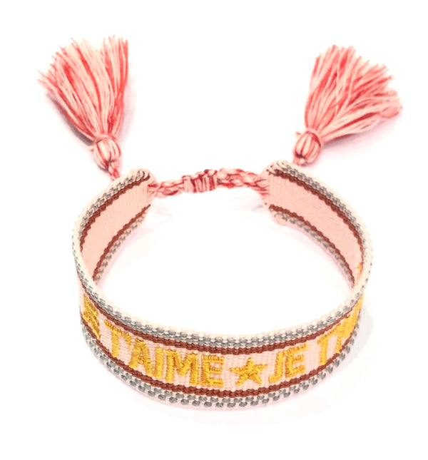 "WOVEN FRIENDSHIP BRACELET - ""JE T'AIME"" BLUSH ROSE"