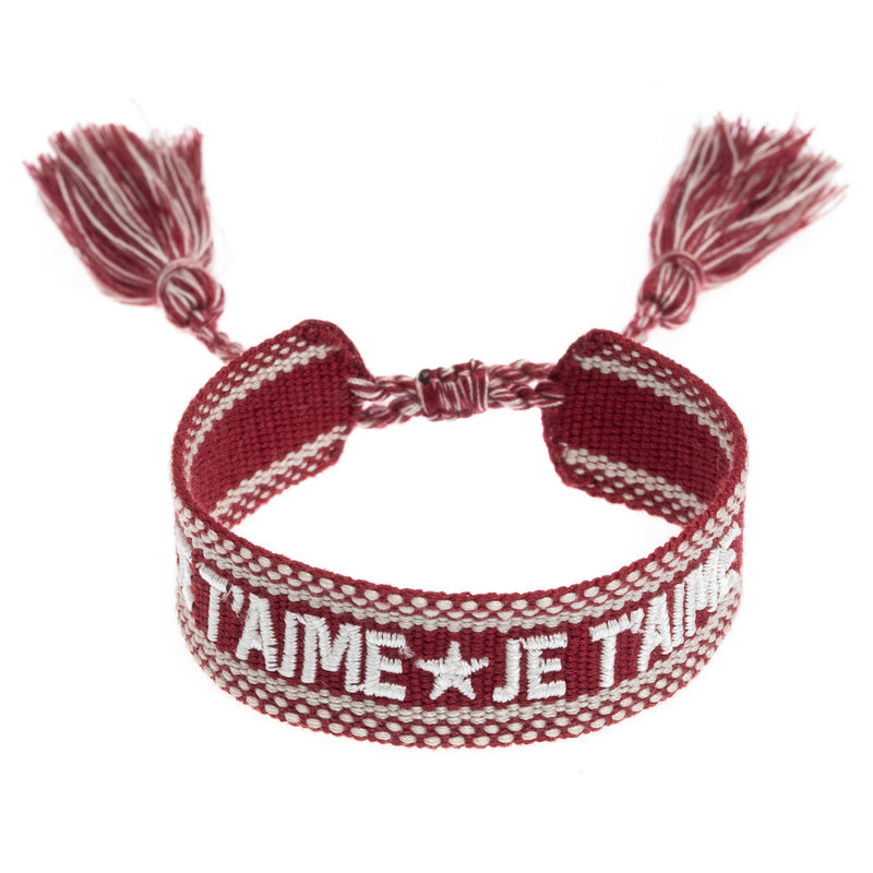 "WOVEN FRIENDSHIP BRACELET - ""JE T'AIME"" OX RED"