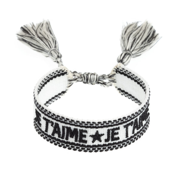 "WOVEN FRIENDSHIP BRACELET - ""JE T'AIME"" WHITE"