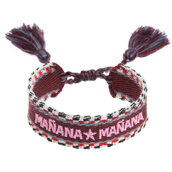 "WOVEN FRIENDSHIP BRACELET - ""MAÑANA MAÑANA"" WINE"