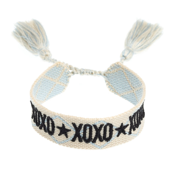 "WOVEN FRIENDSHIP BRACELET - ""XOXO"" COOL BLUE"