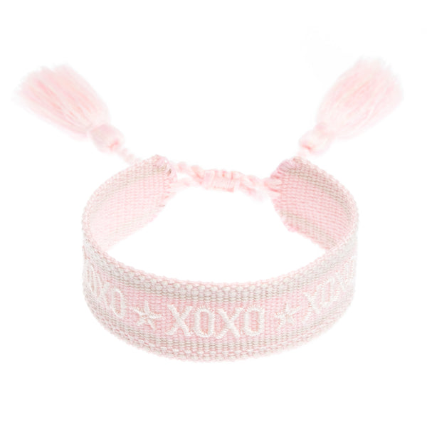 "WOVEN FRIENDSHIP BRACELET - ""XOXO"" PALE ROSE"