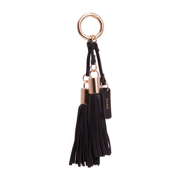 LEATHER TWIN TASSEL NAPPA BLACK W/GOLD